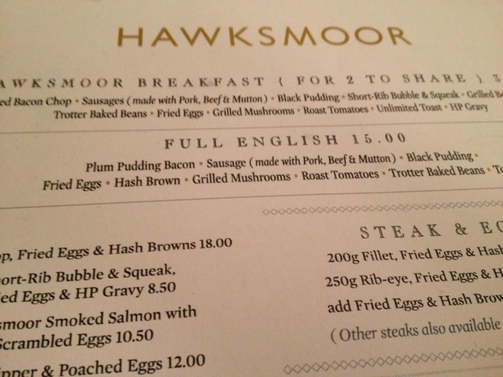 Hawksmoor Guildhall menu